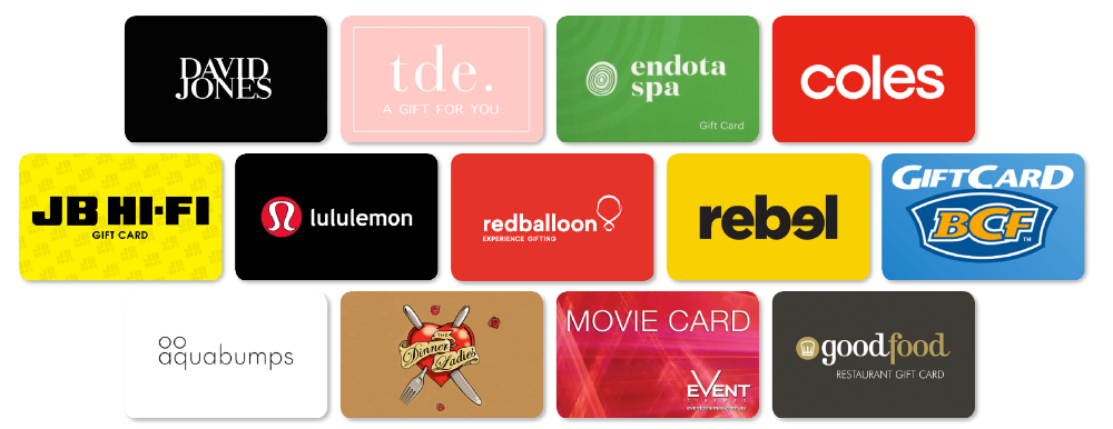 Gift card options for your group gift