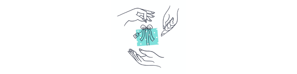 Illustration of three hands holding a gift